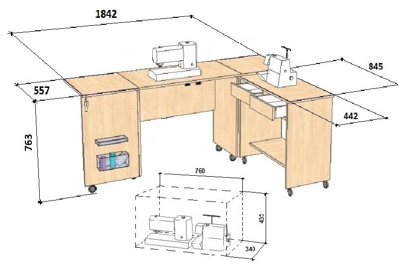 Стол для швейной машины и оверлока Комфорт-7 Швейные столы в в Москве и Московской области ОГО!!! СКИДКИ! ТУТ!